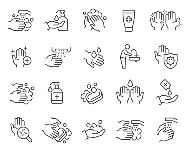 Washing Hands and Hygiene icons set. Editable vector stroke Washing Hands and Hygiene icons set. Collection of linear simple web icons such as antiseptic, hand hygiene, hydration, rinse, soap and other. Editable vector stroke. covid icon stock illustrations