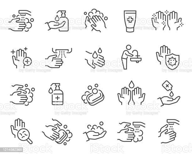 Vetores de Conjunto De Ícones De Mãos E Higiene Traçado Vetorial Editável e mais imagens de Antisséptico