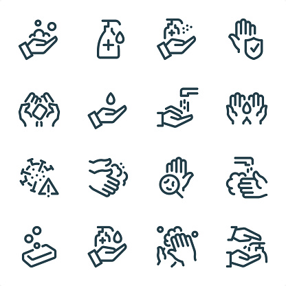 Washing Hands and Hygiene - Pixel Perfect Unicolor line icons