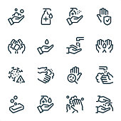 Washing Hands and Hygiene icons set #09\nSpecification: 16 icons, 36x36 pх, stroke weight 2 px\nFeatures: Pixel Perfect, Unicolor, Single line \n\nFirst row of icons contains:\nHand Soaping, Liquid disinfectant dispenser, Antiseptic Spray (Hand Sanitiser), Safety clean hands;\n\nSecond row contains:\nSoap in hands, Water, Faucet & Hands, Hygiene icon;\n\nThird row contains:\nVirus Alert Sign, Hand washing by Foam soap, Bacterium Test Probe, Hands under the tap; \n\nFourth row contains:\nSoap, Liquid Hand Sanitiser, Foam Rubbing, Hand Disinfection icon.\n\nComplete MICO collection - https://www.istockphoto.com/collaboration/boards/UUv7uLop-06yEw9xnOBMNg