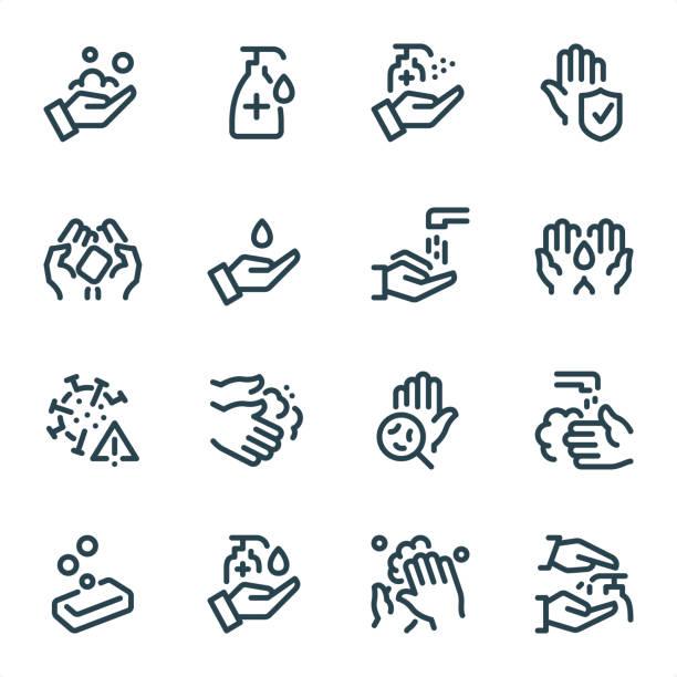 ilustrações, clipart, desenhos animados e ícones de lavar as mãos e higiene - ícones da linha pixel perfect unicolor - washing hands