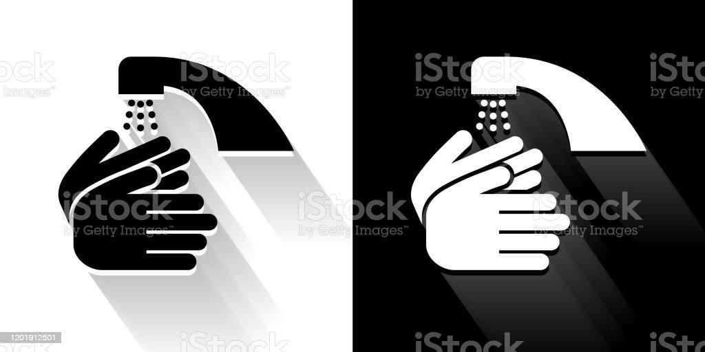 Ícone de lavar as mãos em preto e branco com sombra longa - Vetor de Banheiro - Estrutura construída royalty-free