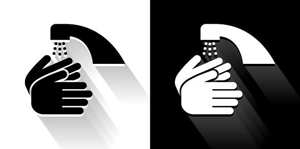 긴 그림자와 손 흑백 아이콘을 세척 개념 기호에 대한 스톡 벡터 아트 및 기타 이미지