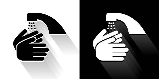 Washing Hands  Black and White Icon with Long Shadow vector art illustration