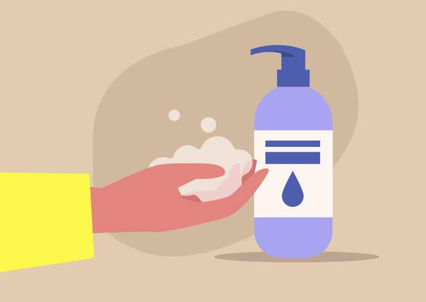 Handen wassen, coronavirus verspreiden preventie, dagelijkse hygiënevectorkunst illustratie