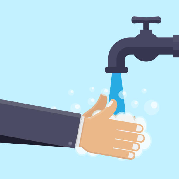 Washing hands flat design vector illustration Washing hands, faucets, hands and soaps with blue background flat design vector illustration bathroom backgrounds stock illustrations