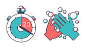 Washing hands for 20 seconds to kill bacteria and germs line icon illustration concept pandemic coronavirus CoViD-19 cleaning.
