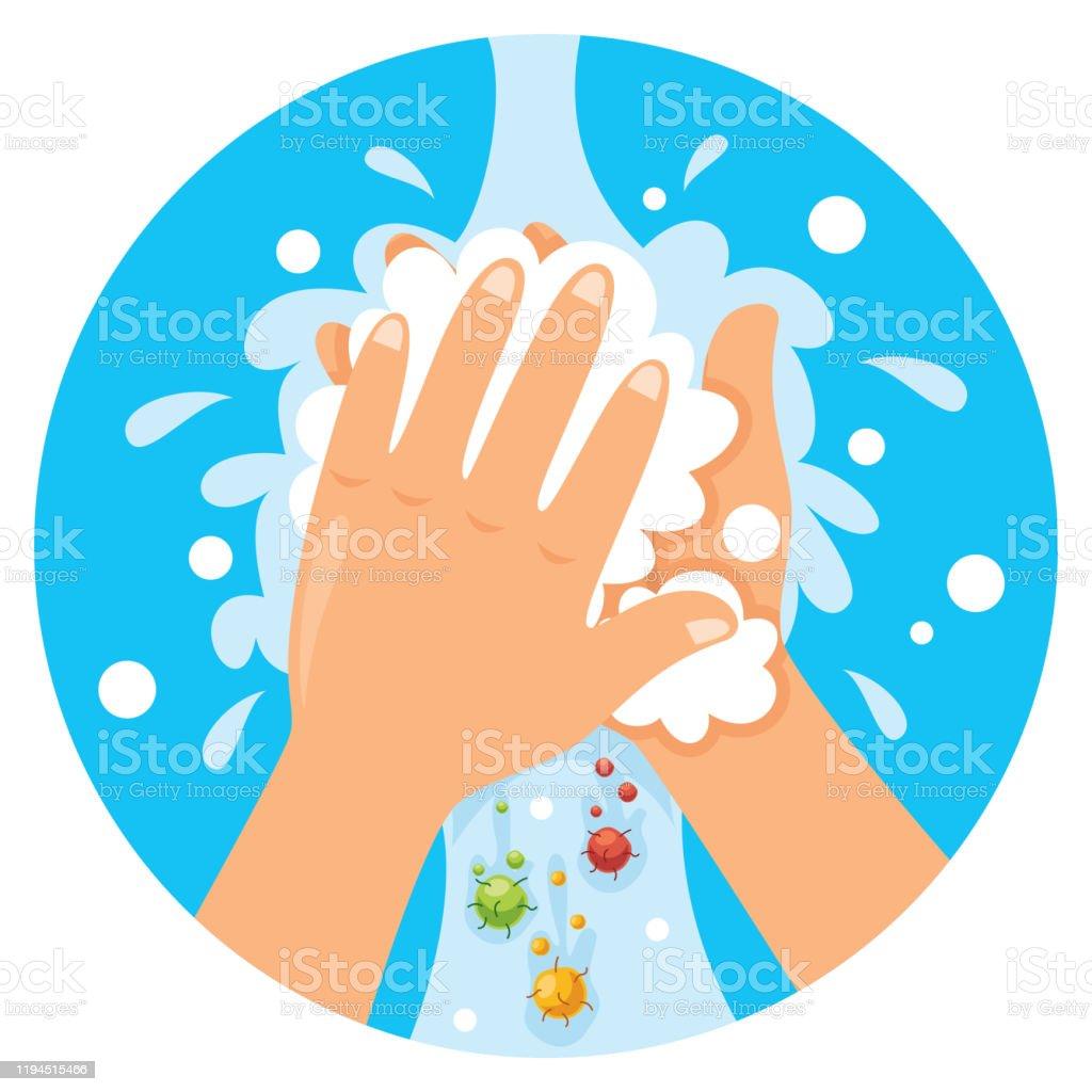 Mãos de lavagem para o cuidado pessoal diário - Vetor de Bactéria royalty-free