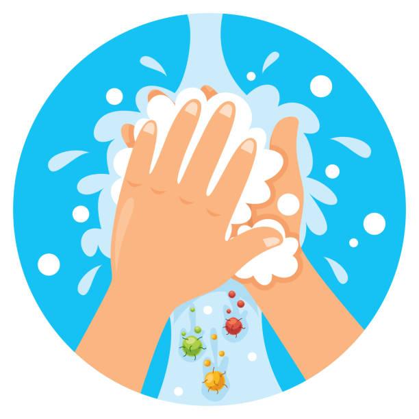 bildbanksillustrationer, clip art samt tecknat material och ikoner med tvätta händerna för daglig personlig vård - washing hands