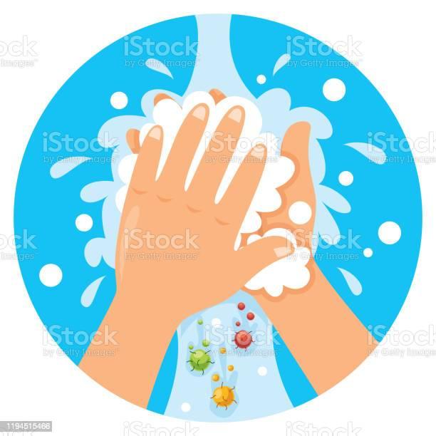 Vetores de Mãos De Lavagem Para O Cuidado Pessoal Diário e mais imagens de Bactéria