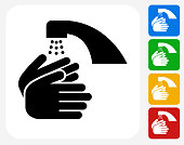 Washing Hands Icon. This 100% royalty free vector illustration features the main icon pictured in black inside a white square. The alternative color options in blue, green, yellow and red are on the right of the icon and are arranged in a vertical column.