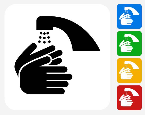 illustrazioni stock, clip art, cartoni animati e icone di tendenza di lavare le mani icona piatto di design grafico - igiene