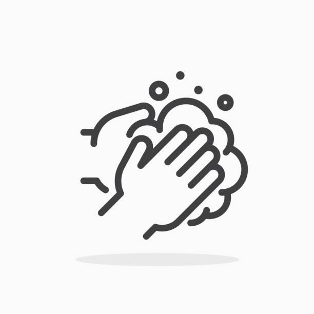 ilustrações, clipart, desenhos animados e ícones de ícone de mãos lavando no estilo de linha. - washing hands