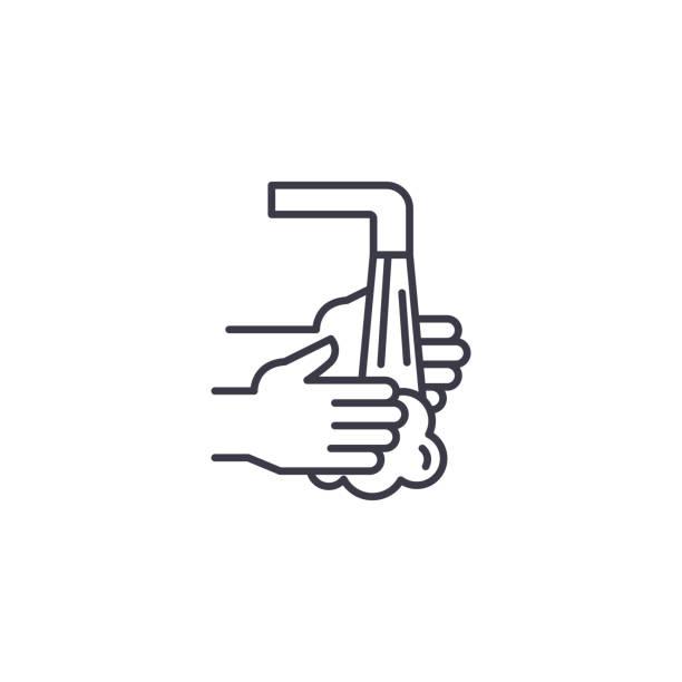 洗手線圖示概念。洗手線向量符號, 符號, 插圖。向量藝術插圖