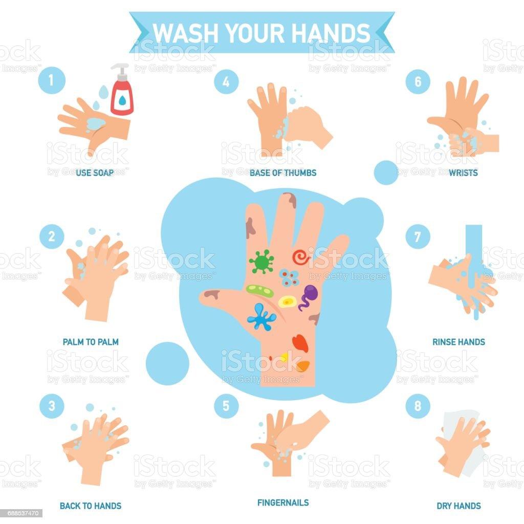 Washing hands properly infographic,illustration.