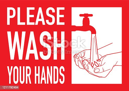 Please wash your hands sign in vector.
