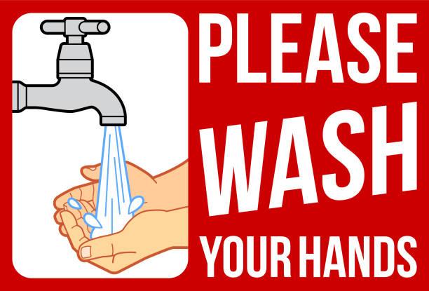 bildbanksillustrationer, clip art samt tecknat material och ikoner med tvätta händerna tecken - washing hands