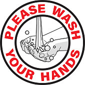 Vector illustration of Wash Your Hands warning sign in Spanish language