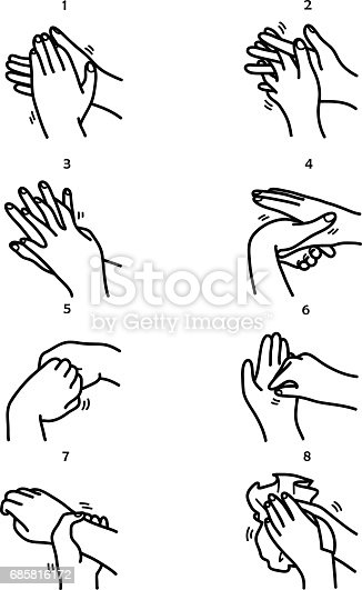 Washing Hands Step By Step Method Stock Vector Art & More