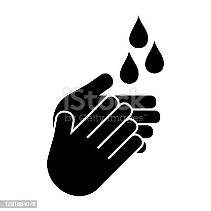 washing hands to keep clean line art vector icon isolated on white background