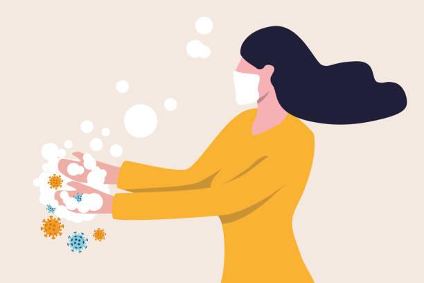 stockillustraties, clipart, cartoons en iconen met handen wassen om covid-19 coronavirus pathogenen te ontsmetten en te desinfecteren uit je handenconcept, vrouw die handen wast met alcoholgel of zeep met bubbels en covid-19 virusziekteverwekker op haar handen. - alleen één meisje
