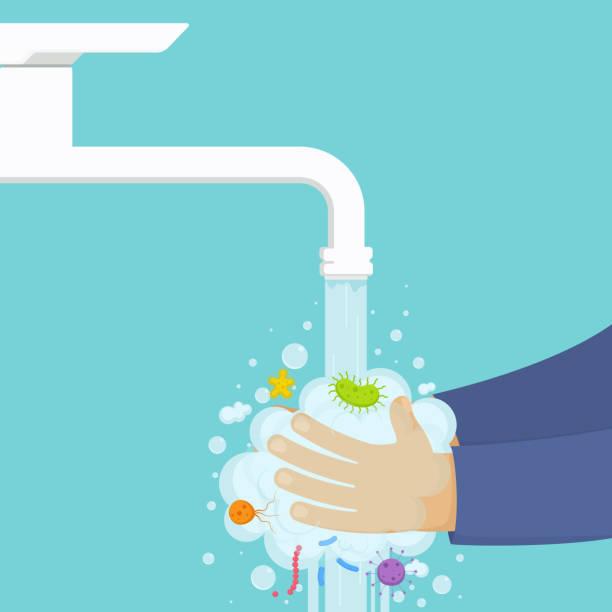 bildbanksillustrationer, clip art samt tecknat material och ikoner med tvätta händerna under kranen med tvål, hygien koncept. - washing hands