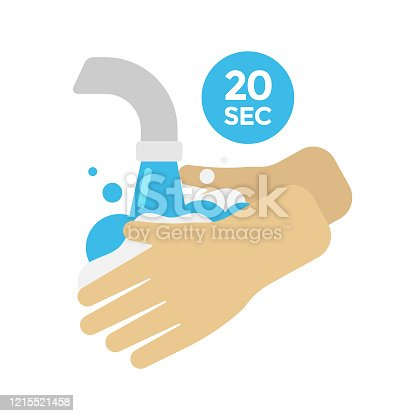 istock Washing Hands Vector Design. 20 Second Hand Washing and Cleaning Concept Flat Design. 1215521458