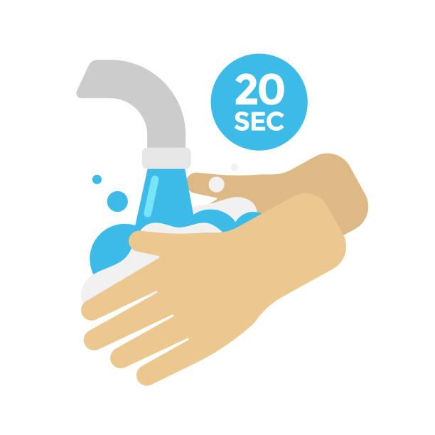 bildbanksillustrationer, clip art samt tecknat material och ikoner med tvätta händerna vector design. 20 second hand tvätt och rengöring concept flat design. - washing hands