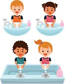 A group of school children washing hands to keep good hygiene.