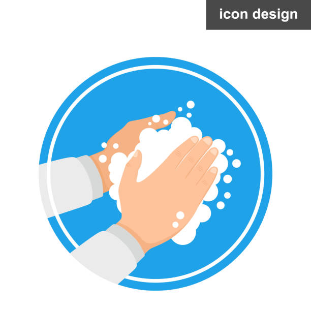 Washing hands with soap vector sign Washing hands with soap vector sign water wastage stock illustrations
