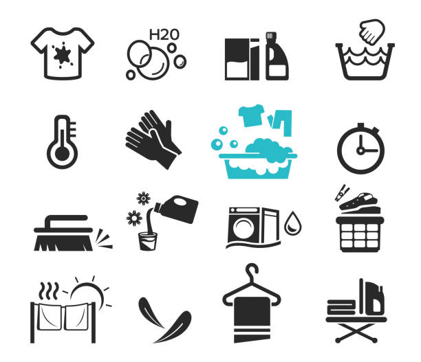 waschen symbolsatz konzept. putztag. glücklich hausarbeit. - weichspüler stock-grafiken, -clipart, -cartoons und -symbole