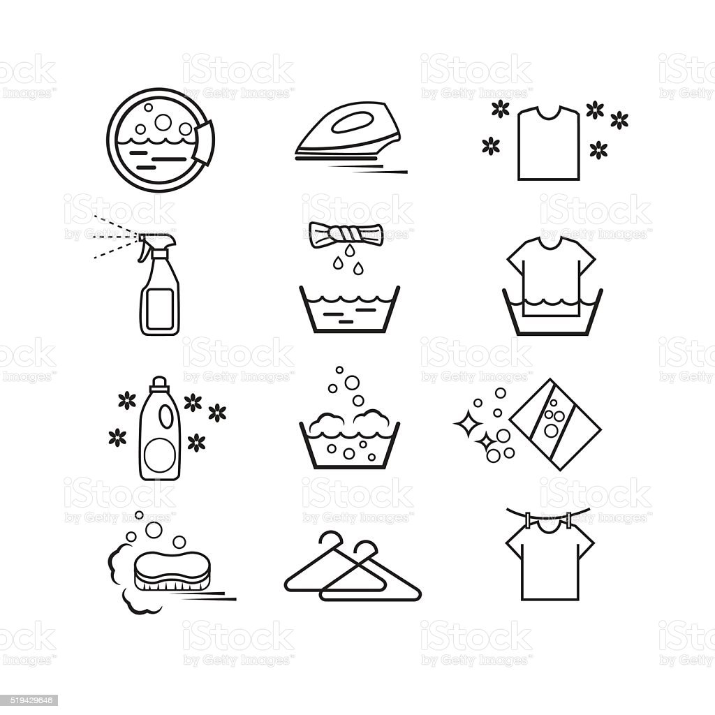 washing icons set and laundry stock vector art more images of