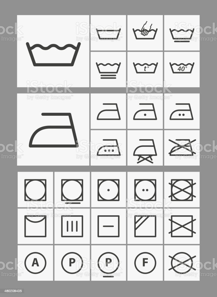 Washing Instruction Symbols Collection Stock Vector Art More