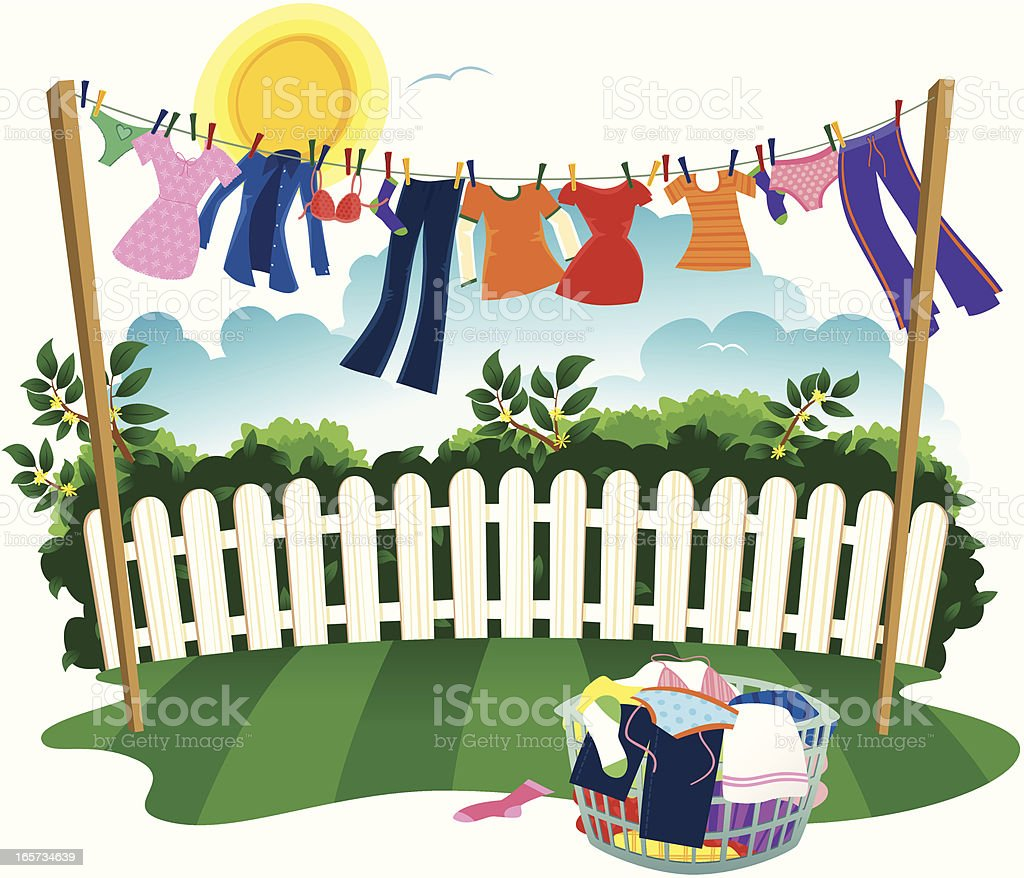 Washing line and drying clothes royalty-free stock vector art