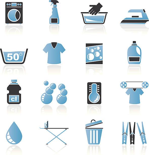 waschmaschine waschmaschine und symbole - weichspüler stock-grafiken, -clipart, -cartoons und -symbole