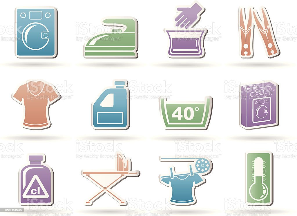 Washing machine and laundry icons royalty-free stock vector art