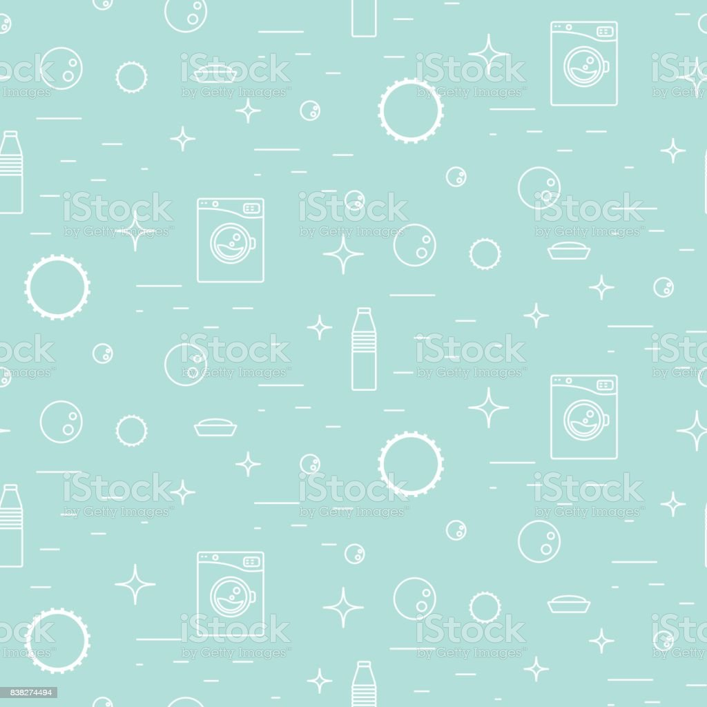 Washing Machine And Soap Bubbles Thin Line Seamless Pattern Stock