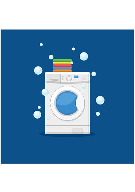 washing machine and towels. equipment housework laundry wash clothes. - washing machine stock illustrations, clip art, cartoons, & icons