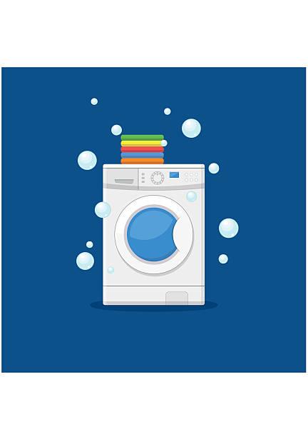 washing machine and towels. equipment housework laundry wash clothes. - waschmaschine stock-grafiken, -clipart, -cartoons und -symbole