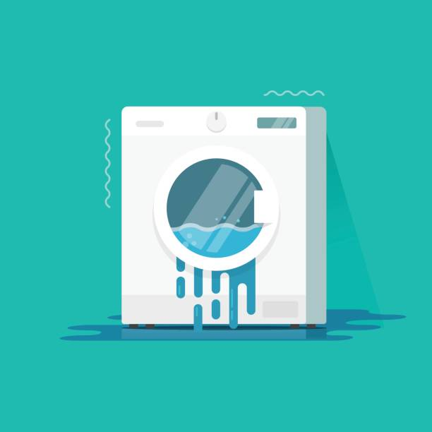 washing machine broken vector illustration, flat cartoon color damaged washer and water flowing on floor need repair isolated - washing machine stock illustrations, clip art, cartoons, & icons