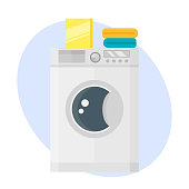 Washing machine dry hygiene housework domestic single clean equipment household appliance electrical metal technology vector illustration