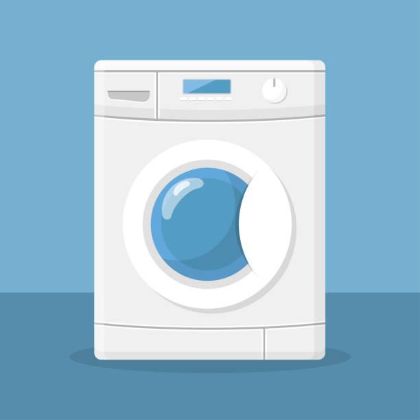 waschmaschine flaches design - waschmaschine stock-grafiken, -clipart, -cartoons und -symbole