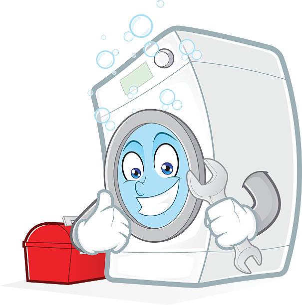 Waschmaschine hält ein Schraubenschlüssel mit toolbox – Vektorgrafik