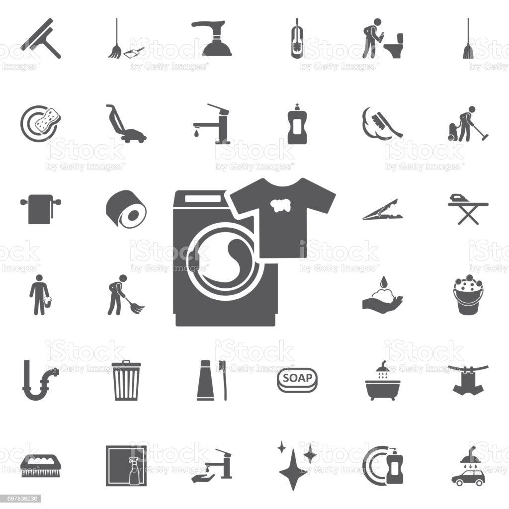 Waschmaschine Symbol Haushaltsgerätesymbol Flache Zeichen Stock
