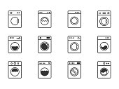 wash machine signs, laundry icons set instruction