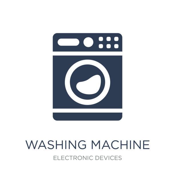 waschmaschine symbol. trendige wohnung vektor-waschmaschine-symbol auf - waschmaschine stock-grafiken, -clipart, -cartoons und -symbole