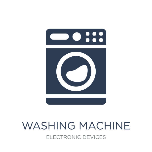 washing machine icon. trendy flat vector washing machine icon on - washing machine stock illustrations, clip art, cartoons, & icons