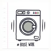 Vector doodle washing machine icon illustration with color, drawn on lined note paper.