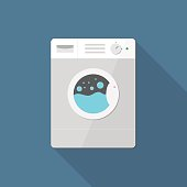 Washing machine icon in flat style with long shadow, web icon, isolated, colored