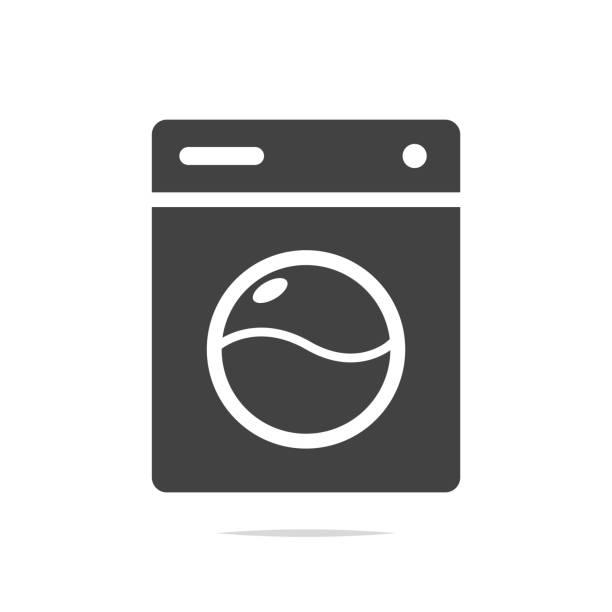 washing machine icon vector - washing machine stock illustrations, clip art, cartoons, & icons